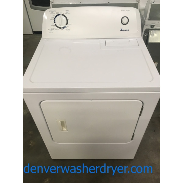 Lovely Amana Dryer, White, 220V, Wrinkle Prevent Option, 29″ Wide, Capacity 6.5 Cu.Ft., Quality Refurbished, 1-Year Warranty!