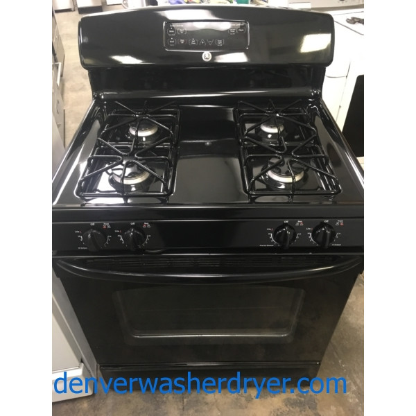 Beautiful GE GAS Range, Black, 4 Burner, Self-Clean, Quality Refurbished, 1-Year Warranty!