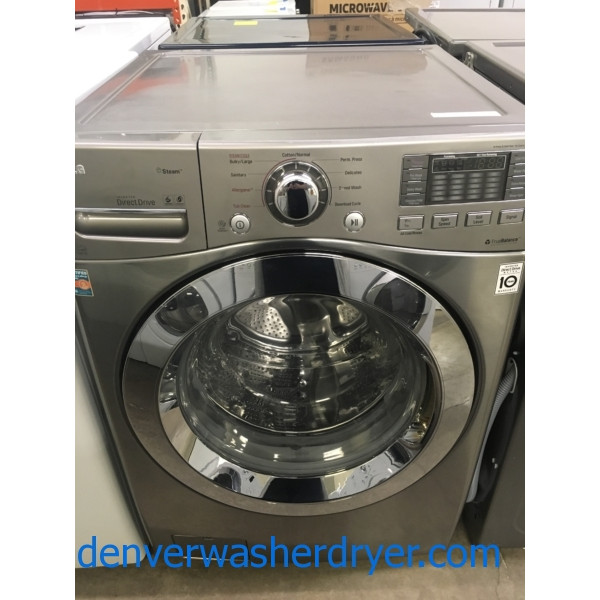 Lovely LG Front-Load Washer, Graphite Steel, HE, Steam, Sanitary/Allergiene Cycles, Quality Refurbished, 1-Year Warranty!