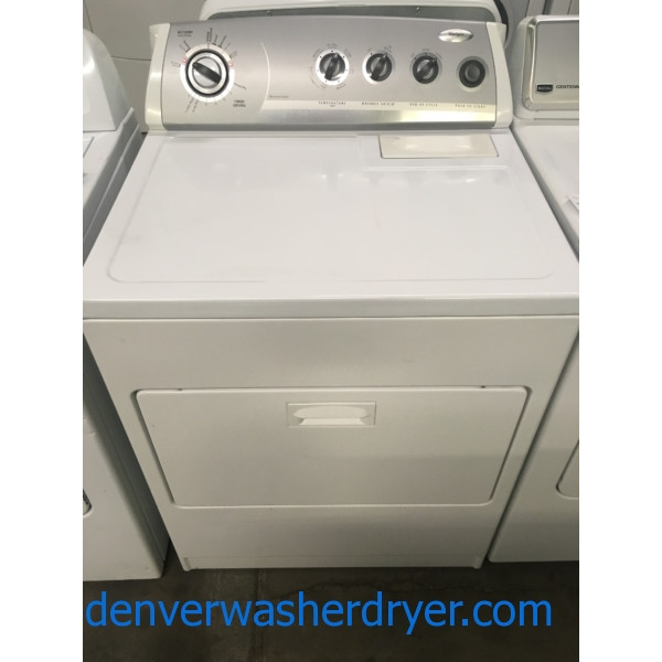Wonderful Whirlpool Dryer, 220V, 29″ Wide, Wrinkle Shield Option, AccuDry Sensor Drying, Quality Refurbished, 1-Year Warranty!