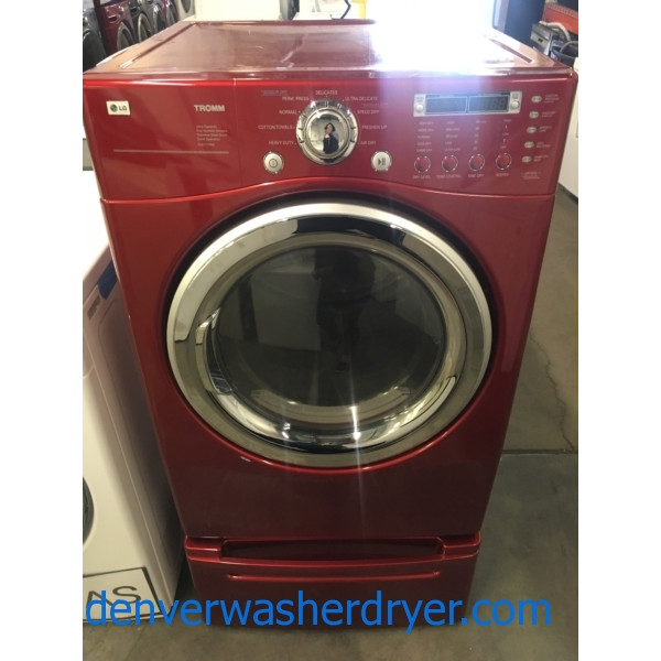 Nice LG Front-Load TROMM Dryer, Cherry Red, Sensor Dry, Capacity 7.3 Cu.Ft., Anti-Bacterial, Wrinkle Care Option, Quality Refurbished, 1-Year Warranty!