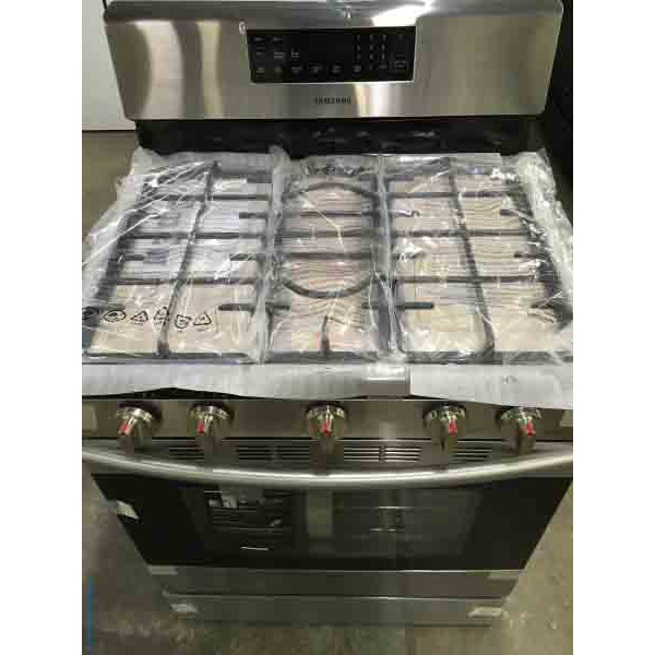 NEW! Stainless Steel 5-Burner Gas Range, 30″ Freestanding, Samsung
