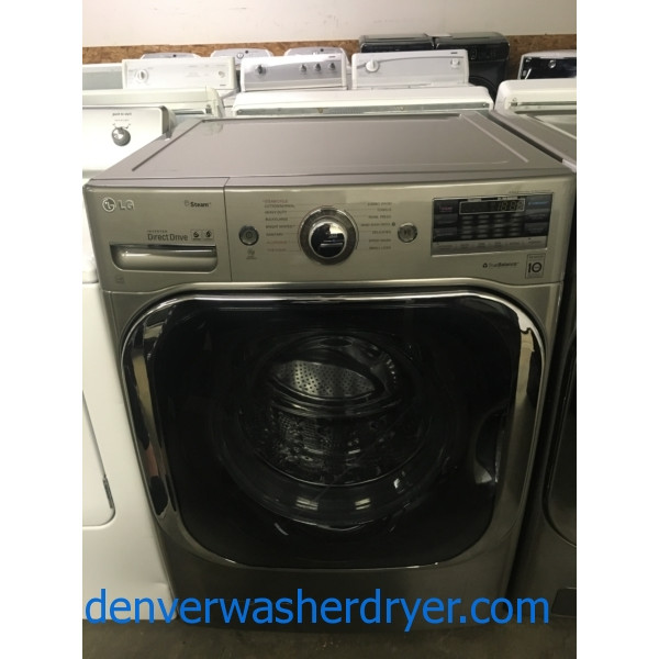 LG Steam Front-Load Washer, Graphite Steel, HE, Sanitary and Allergiene Cycles, Capacity 5.1 Cu.Ft., Quality Refurbished, 1-Year Warranty!