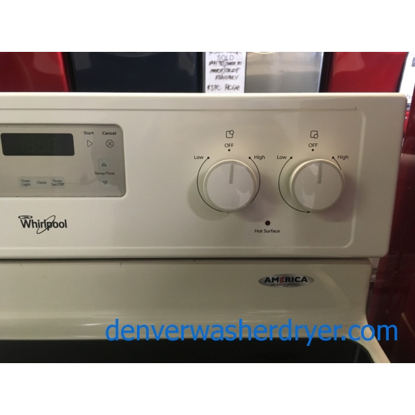 Lovely Whirlpool Range, Bisque, 220V, Glass-Top, 4 Burners, Self Clean Feature, Quality Refurbished, 1-Year Warranty!