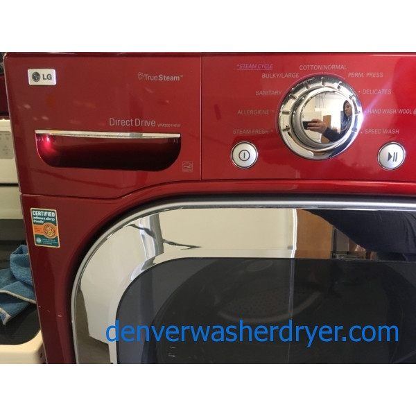 LG Cherry Red Front-Load Washer, Steam, HE, Capacity 4.5 Cu.Ft., Sanitary and Allergiene Cycles, w/Pedestals, Quality Refurbished, 1-Year Warranty!