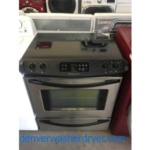 RARE! Frigidaire Slide-In Range, Black w/ Stainless, 4 Burners, Self Cleaning, Storage Drawer, Quality Refurbished, 1-Year Warranty!
