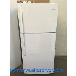 NEW! Whirlpool Top-Mount Refrigerator, White, Capacity 19.2 Cu.Ft., 30″ Wide, LED Lighting, 1-Year Warranty!