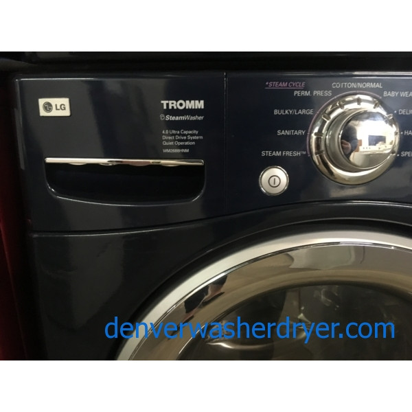 LG TROMM Front-Load Set, Midnight Blue, HE, Sanitary Cycle, Steam Option, 220V, Wrinkle Care, Quality Refurbished, 1-Year Warranty!