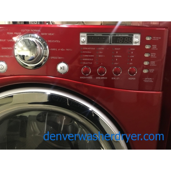 Lovely LG TROMM Steam Washer, Front-Load, HE, Cherry Red, Sanitary Cycle, Capacity 4.0 Cu.Ft., Quality Refurbished