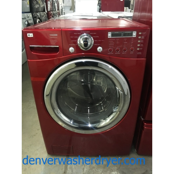 Lovely LG TROMM Steam Washer, Front-Load, HE, Cherry Red, Sanitary Cycle, Capacity 4.0 Cu.Ft., Quality Refurbished, 1-Year Warranty!