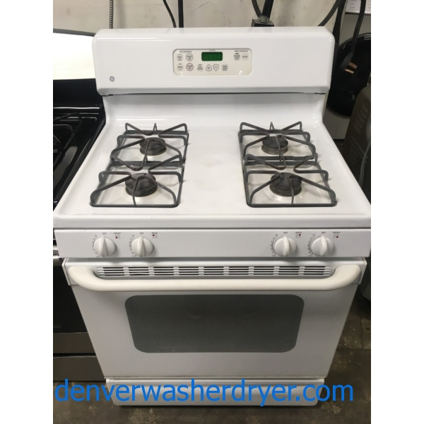 Great GE GAS Range, White, Self Clean Feature, 4 Burners, Quality Refurbished, 1-Year Warranty!