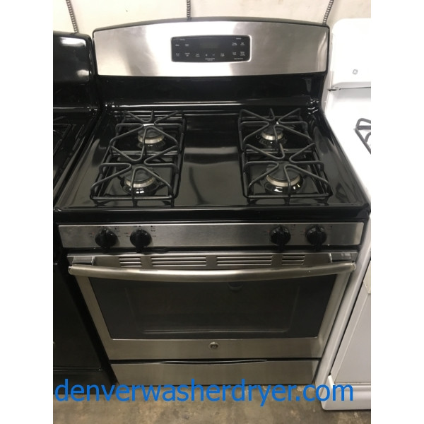 Beautiful GE Range, GAS, Black w/ Stainless, 4 Burners, Self Clean, Storage Drawer, Quality Refurbished, 1-Year Warranty!