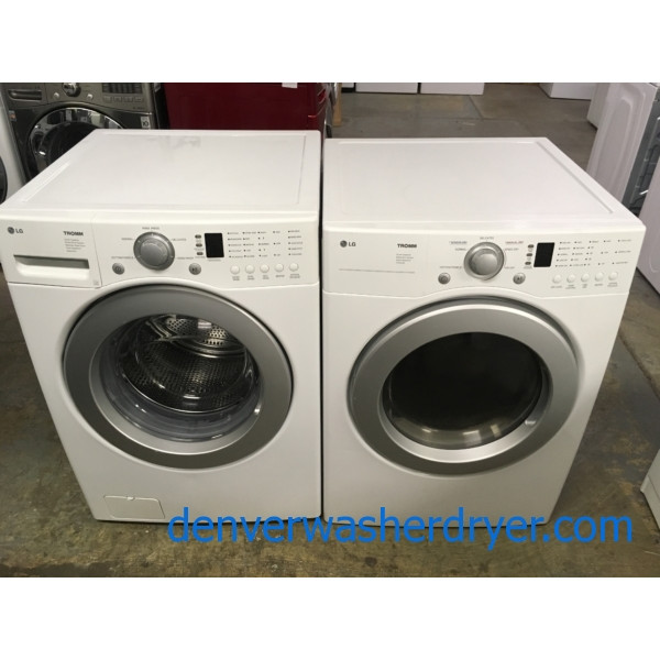 Front-Load LG TROMM Set, White, Super Capacity, 220V, Water Plus Option, Sense Dry, Quality Refurbished, 1-Year Warranty!