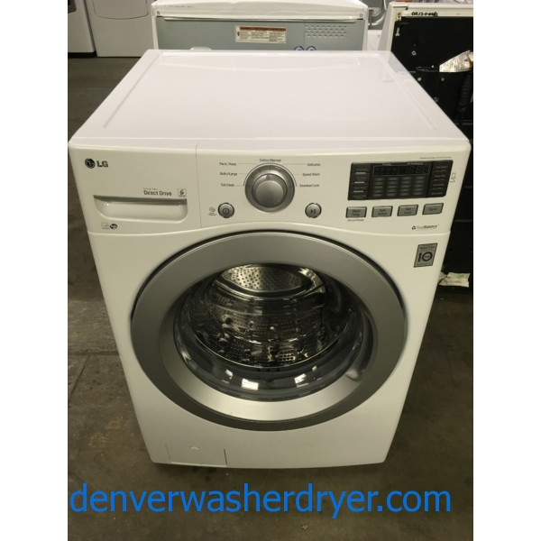 LG White Front-Load Washer, HE, Stainless Drum, Tub Clean Cycle, Fresh Care Option, Capacity 4.3 Cu.Ft., Quality Refurbished, 1-Year Warranty!