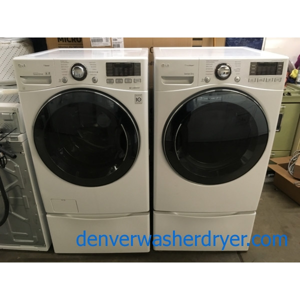 Beautiful LG Steam Set, White, w/ Pedestals, Anti-Bacterial, Allergiene and Sanitary Cycle, Quality Refurbished, 1-Year Warranty!