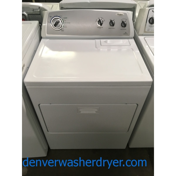 Nice Whirlpool Dryer., Sensor Drying, 220V, 29″ Wide, Wrinkle Shield Option, HE, Capacity 7.0 Cu.Ft., Quality Refurbished, 1-Year Warranty!