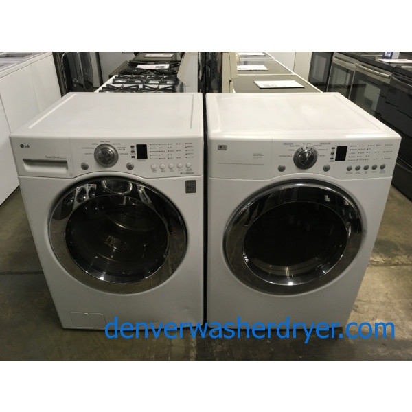 Great LG Front-Load Set, White, Sensor Dry, Sanitary Cycle, 220V, Wrinkle Care, Quality Refurbished, 1-Year Warranty!