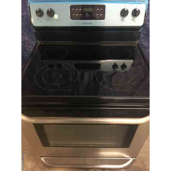 Black and Stainless Frigidaire 5.4 Cu. Ft. Self-Cleaning Freestanding Electric Convection Oven Glass Top Stove!
