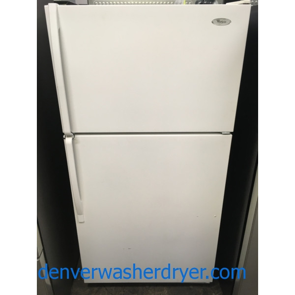 Nice Whirlpool Top-Mount Refrigerator, White Textured, Capacity 20.9 Cu.Ft., Humidity Control Crispers, Quality Refurbished, 1-Year Warranty!