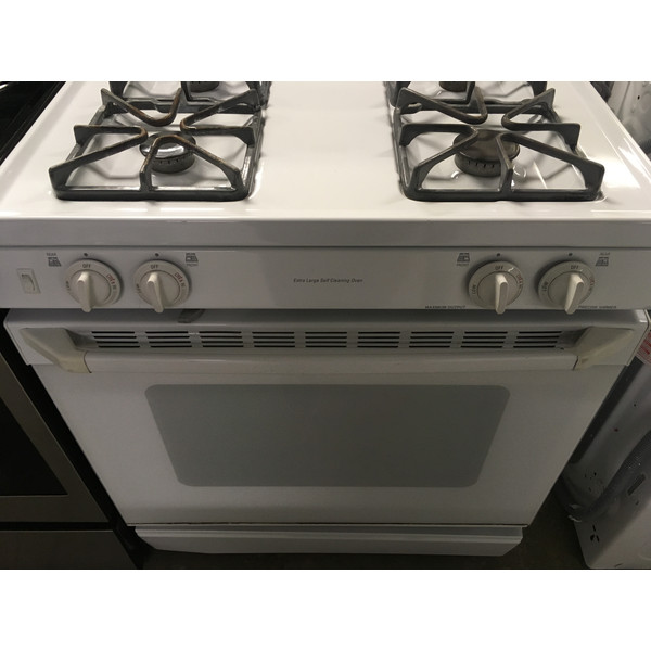 GE Free-Standing GAS Range, White, 4 Burners, Self Cleaning, Capacity 5.0 Cu.Ft., Quality Refurbished, 1-Year Warranty!