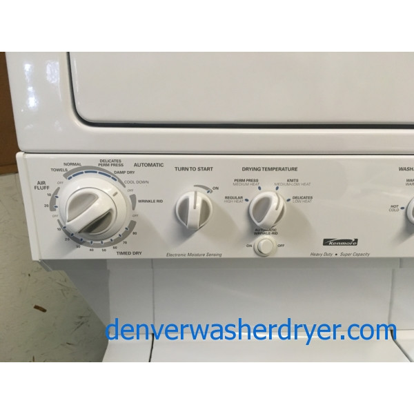 Kenmore Unitized Laundry Center, Agitator, Wrinkle Rid Option, Super Capacity, 220V, Heavy-Duty, Quality Refurbished, 1-Year Warranty!