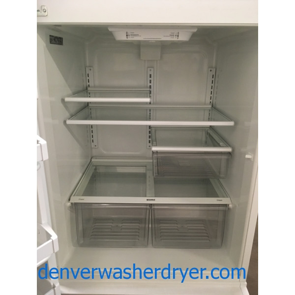 Lovely White Kenmore Refrigerator, Top-Mount, Capacity 20.0 Cu.Ft., Ice Maker, 33″ Wide, Quality Refurbished, 1-Year Warranty!