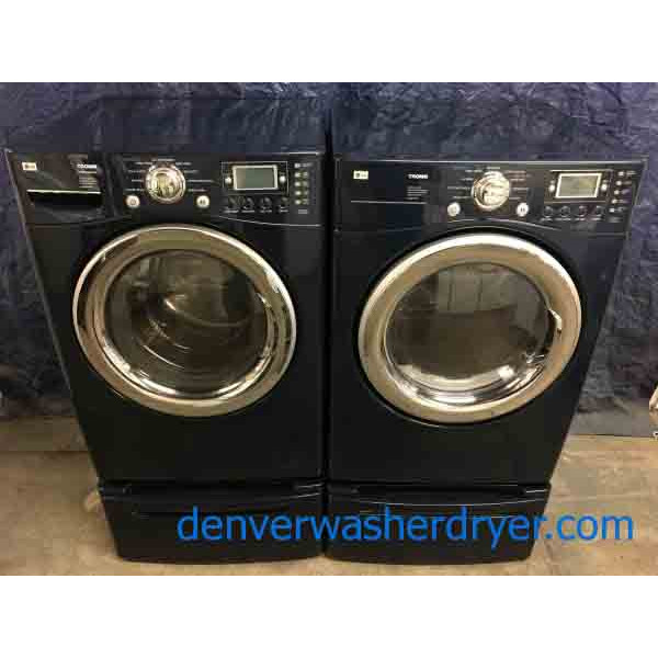 Beautiful Blue LG TROMM Front-Load Laundry Set on Pedestals, Electric, Steam & Sanitary, High-End!
