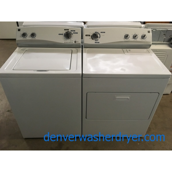 Kenmore Washer and Dryer, 220V, Auto-Load Sensing, Agitator, Wrinkle Guard Option, 29″ Wide, Quality Refurbished, 1-Year Warranty!