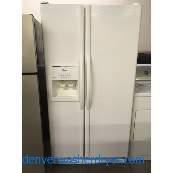 Great Side-X-Side Whirlpool Refrigerator, White, 36″ Wide, Ice/Water Dispenser, 25.4 Cu.Ft. Capacity, Quality Refurbished, 1-Year Warranty!