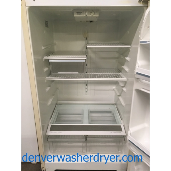 GE Bisque Refrigerator, Top-Mount, 18.0 Cu.Ft. Capacity, Wire Shelves, 28″ Wide, Quality Refurbished, 1-Year Warranty!