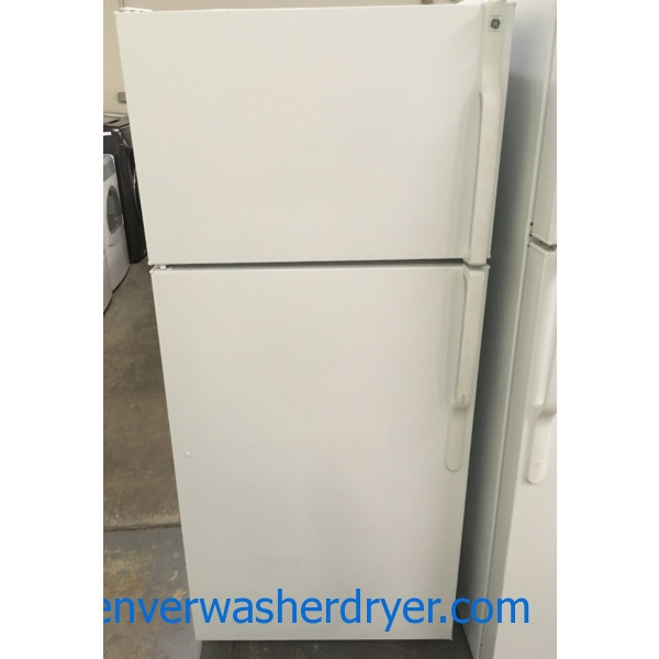 Lovely GE Top-Mount Refrigerator, White, 17.0 Cu.Ft. Capacity, 28″ Wide, Quality Refurbished, 1-Year Warranty!