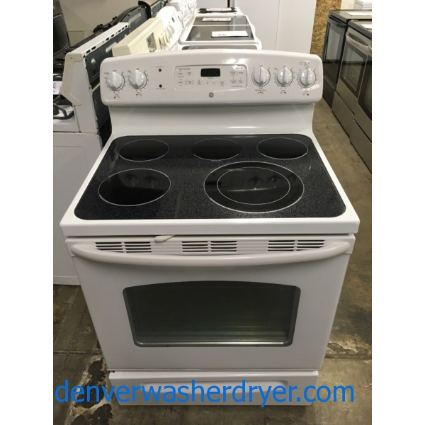 GE White Range, Electric, Glass-Top, 4 Burner, Warming Zone, Self-Cleaning, Storage Drawer, Quality Refurbished, 1-Year Warranty!