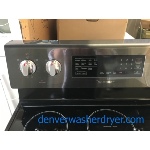 Newer SAMSUNG Range, Electric, Black Stainless, 4 Burner, Warming Zone, Steam/Self Cleaning, Quality Refurbished, 1-Year Warranty!