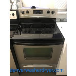 Affordable Whirlpool Range, Electric, Black w/ Silver, Glass-Top, 4 Burners, 4.8 Cu.Ft. Capacity, Quality Refurbished, 1-Year Warranty!