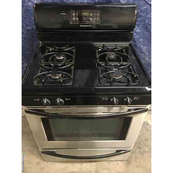Fancy Frigidaire *GAS* Black/Stainless Self-Cleaning Free Standing Range Convection Oven with 1 Year Warranty!