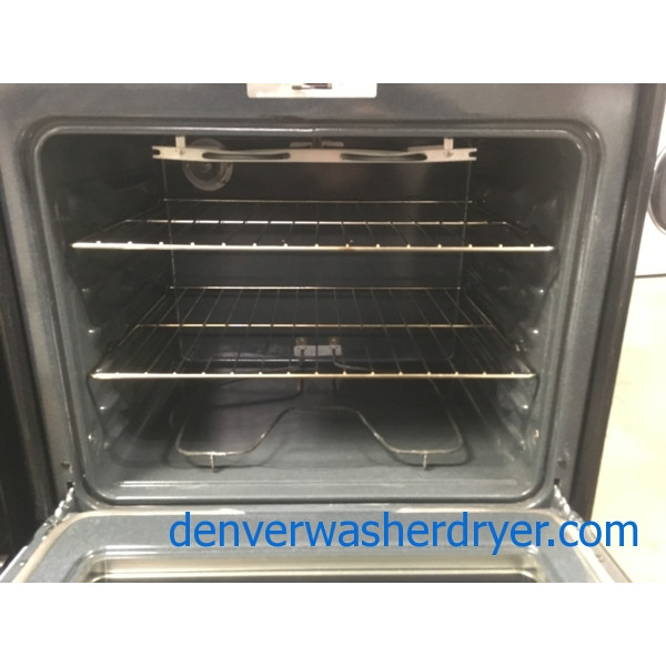 Newer GE Glass-Top Range, Stainless, 4 Burners, Dual Element, Automatic Oven, Storage Drawer, Self-Clean, Quality Refurbished, 1-Year Warranty!