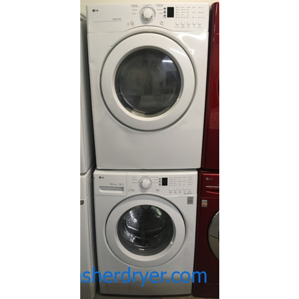 Nice LG Washer and Dryer Set, HE, Tub Clean Cycle, Sensor Dry, White, Stackable, 220V, 27″ Wide, Capacity 7.1 Cu.Ft., Quality Refurbished, 1-Year Warranty!