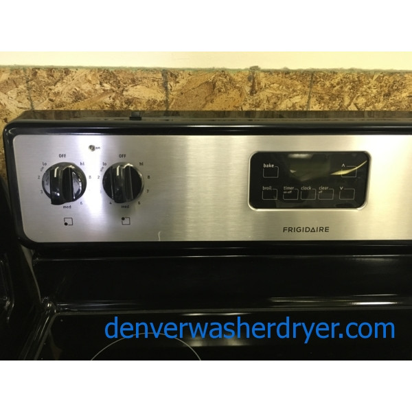 Stainless Frigidaire Range, Electric, Glass-Top, 4 Burners, 30″ Wide, Storage Drawer, Quality Refurbished, 1-Year Warranty!