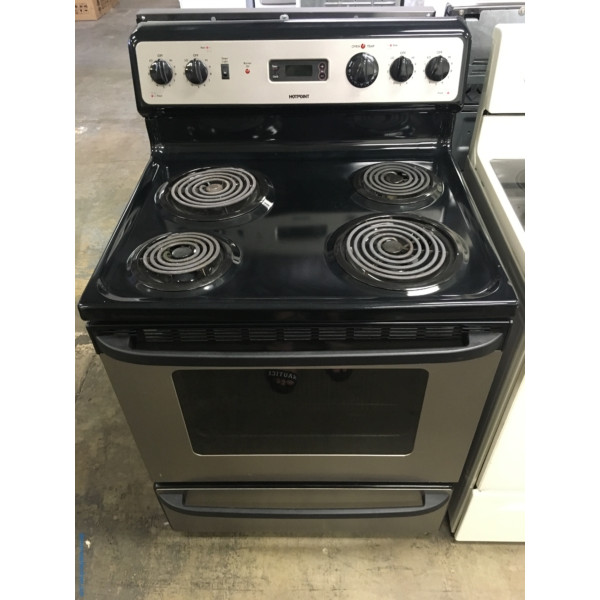 Hotpoint Free-Standing Black/Smudge-Proof Stainless Range, 4 Coil Burners, Storage Drawer, 5.0 Cu.Ft. Capacity, Quality Refurbished, 1-Year Warranty!