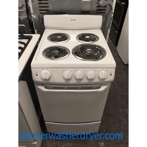 Free-Standing White Hotpoint Range, Electric, 4 Coil Burners, 20″ Wide, Dual Element, Quality Refurbished, 1-Year Warranty!