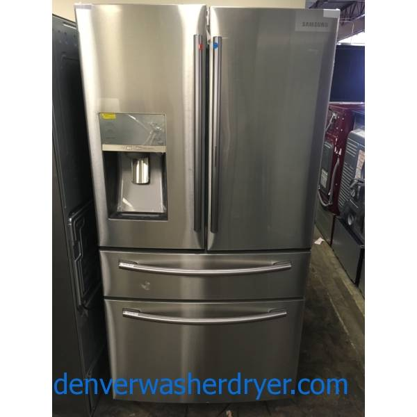 BRAND-NEW! Samsung French-Door Refrigerator, Stainless, 4-Door Flex, Snack Door, 36″ Wide, 28 Cu Ft, 1-Year Warranty!