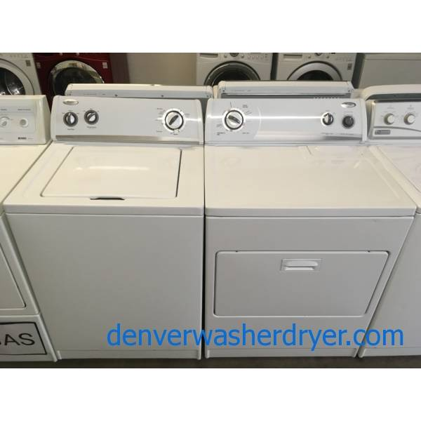 Whirlpool Washer and Dryer Set, Agitator, Wrinkle Shield Feature, 220V, 29″ Wide, Quality Refurbished, 1-Year Warranty!
