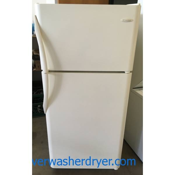 Frigidaire Top-Mount Refrigerator, Almond Textured, 30″ Wide, 18.3 Cu.Ft. Capacity, Quality Refrubished, 1-Year Warranty!