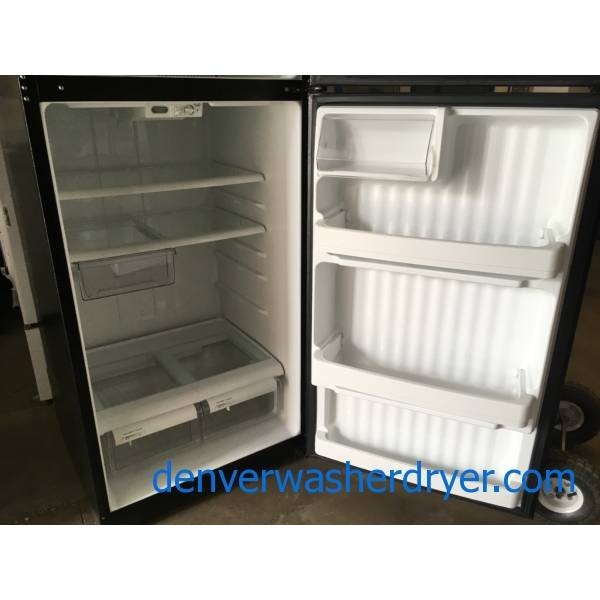 Nice GE Top-Mount Refrigerator, Black Textured, 18.0 Cu.Ft. Capacity, Humidity Control Crispers, 28″ Wide, Quality Refurbished, 1-Year Warranty!