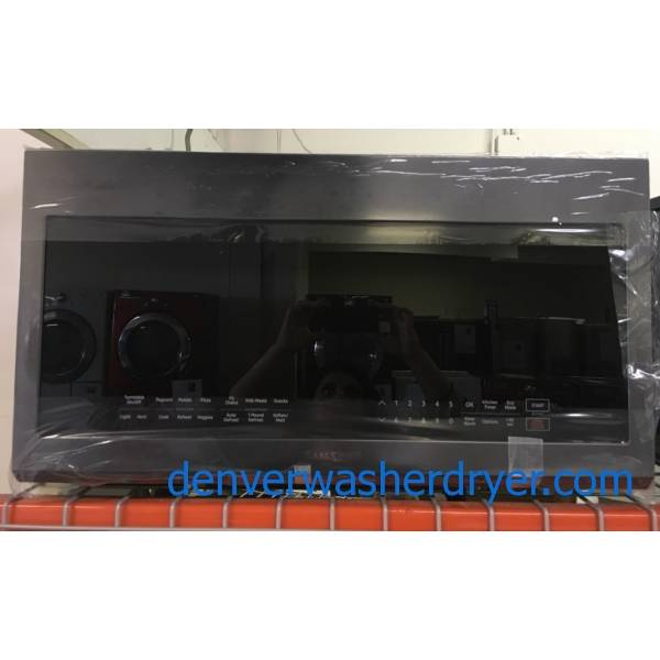 NEW!! SAMSUNG Black Stainless Microwave, Over the Range, Sensor Cooking, LED Lighting, 2.1 Cu.Ft. Capacity, 1-Year Warranty!