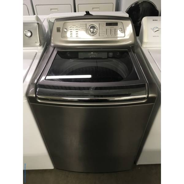 NEW! Kenmore Top-Load Washer, Graphite, HE, 4.7 Cu.Ft. Capacity, Sanitary Cycle, Wash-Plate Style, See-Through Lid, 1-Year Warranty