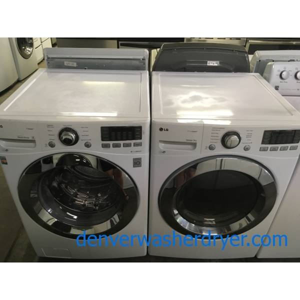 Fabulous LG Front Load Washer Dryer Set, Smart, Stackable, Quality Refurbished, 1 Year-Warranty,