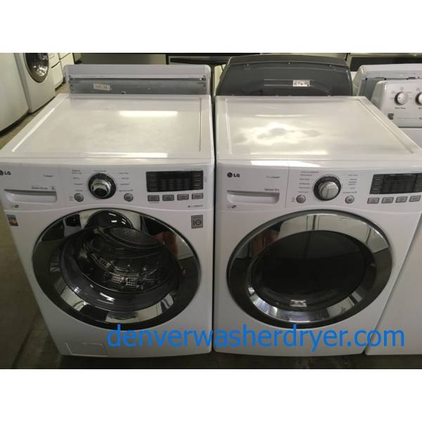 Fabulous LG Front Load Washer Dryer Set, White, Stackable, Quality Refurbished, 1 Year-Warranty,
