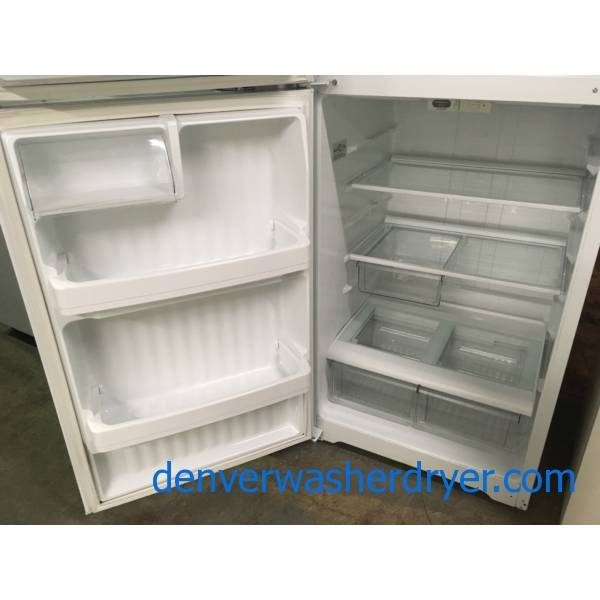 Hotpoint Top-Mount Refrigerator, Textured White, 16.6 Cu.Ft. Capacity, Glass Shelves, 28″ Wide, Quality Refurbished, 1-Year Warranty!