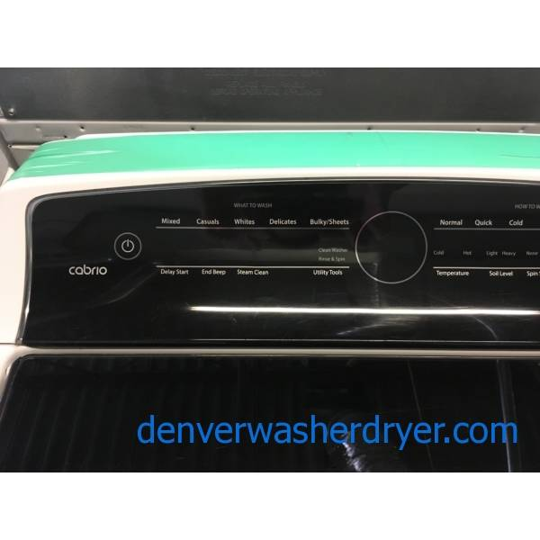 Beautiful Whirlpool Cabrio Washer and Dryer Set, HE, Sanitary Cycles, Steam Clean, Wrinkle Shield Option, Electric, Quality Refrubished, 1-Year Warranty!